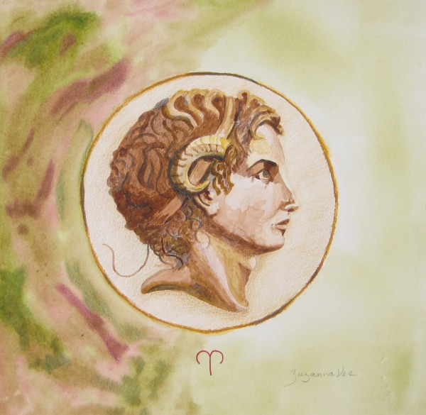The Age of Aries: watercolor on paper; 12 x 12; Zuzanna Vee