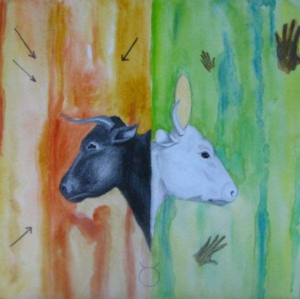 The Age of Taurus healing painting; mixed media; 12 x 12; by Zuzanna Vee